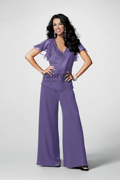 Purple Chiffon mother of the birdal pant suits for wedding mps-153