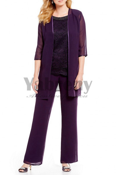 Purple Elastic waist Mother of the bride Trousers set Chiffon Beaded Neck pants outfit mps-130