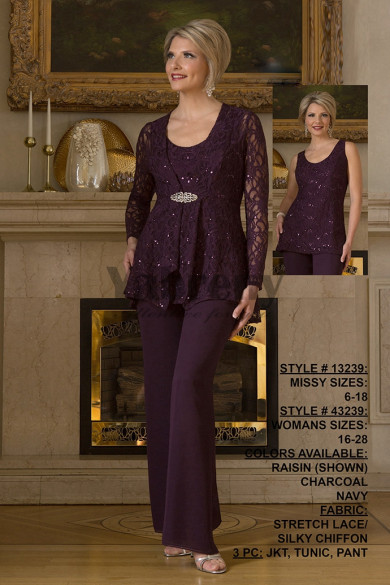 Purple Lace Mother of the bridal pant suits dresses outfits mps-063