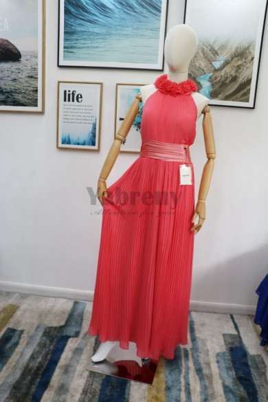 Real pic Watermelon chiffon Bridesmaids Jumpsuit Halter Dresses Accordion pleats mps-177