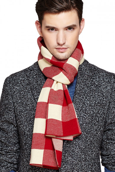 2019 Red and Beige wool plaid high-end autumn and winter Men