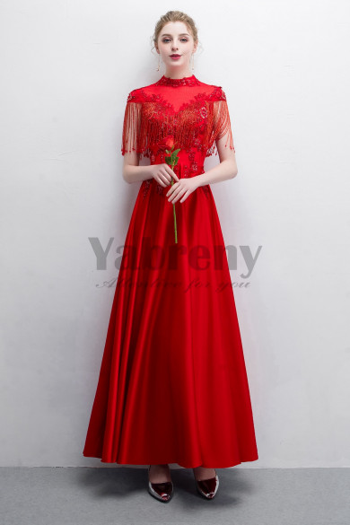 2019 Fashion Red Beaded Satin Prom dresses With Tassel so-020