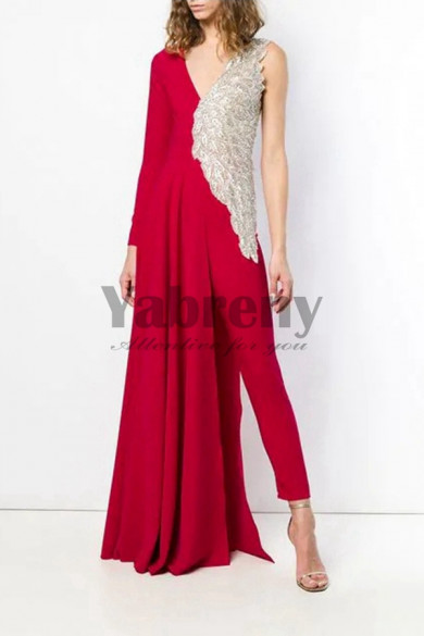 Rose Red Bridal Jumpsuit Delicate Hand Beaded Angel Wings wedding Dresses so-088