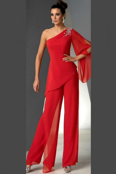 Red chiffon pants outfit One Shoulder Mother of the bride pant suits dresses mps-182