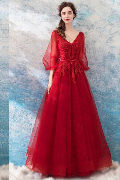 Red Sweetheart Prom Dresses A-line Evening Dresses TSJY-141