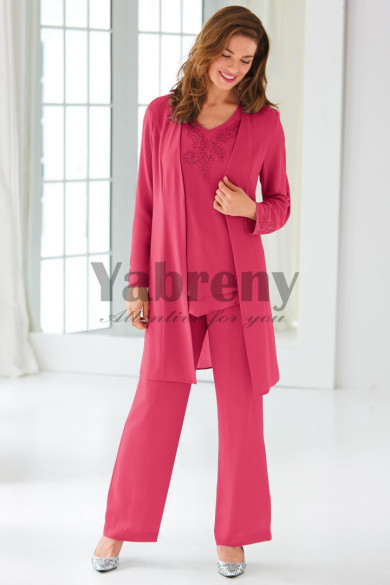 Rose red Classic Beaded Mother of the bride Pant suit dress with Jacket outfits mps-097