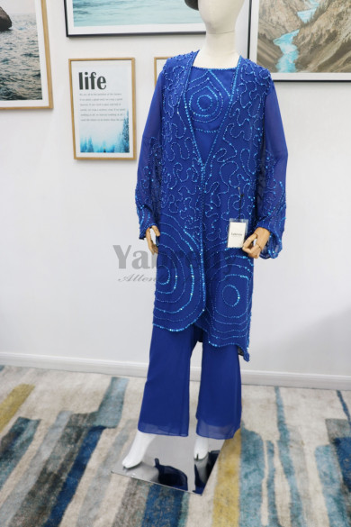 Royal blue beaded Mother of the bride pant suits Plus size Trousers outfit real pic mps-179