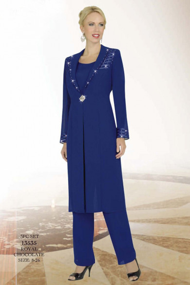Royal blue Classic long coat with mother of the bride pant suits for the wedding mps-073