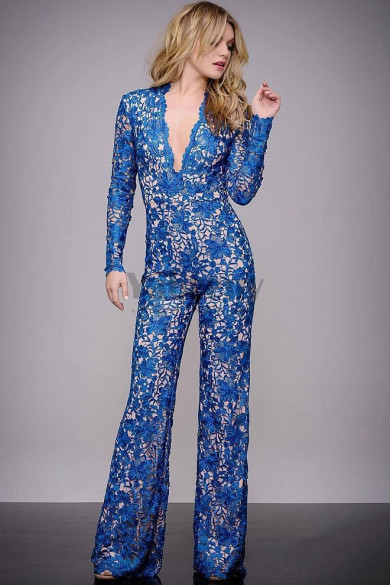 Royal blue Lace Cocktail pants dresses Deep V-neck Evening Jumpsuit so-188