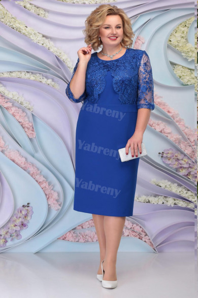 Royal Blue Lace Mother of the Groom Dresses Plus Size Half Sleeves Women