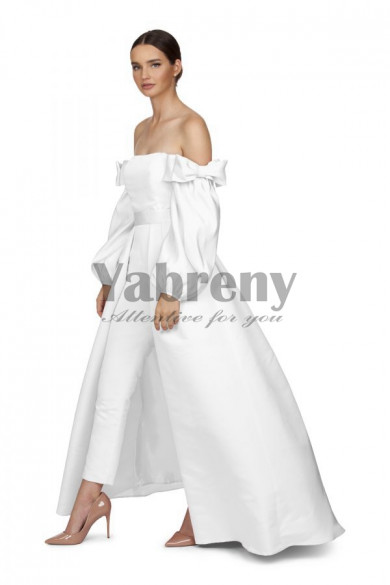 Satin Bridal Jumpsuit White Wedding Gown Detachable Train so-135