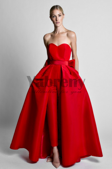 Satin Wedding Jumpsuit dresses With Detachable Train Red so-089