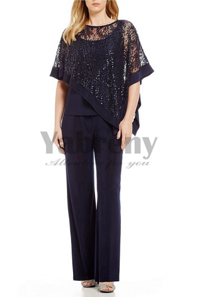 Dark navy Sequins Lace Overlay Top Trousers set Mother special occasion mps-126