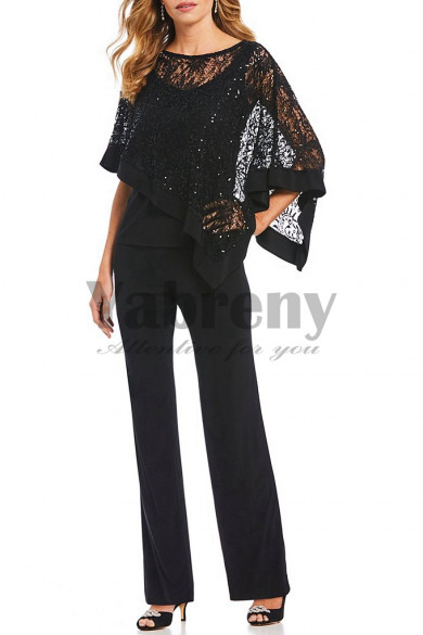 Black Sequins Overlay Top Trousers Lace Mother special occasion pant suit mps-125