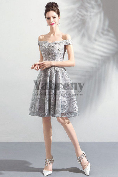 2019 New Style Silver Gray Sequined Fabrics Homecoming Dresses Knee-Length prom dresses TSJY-039