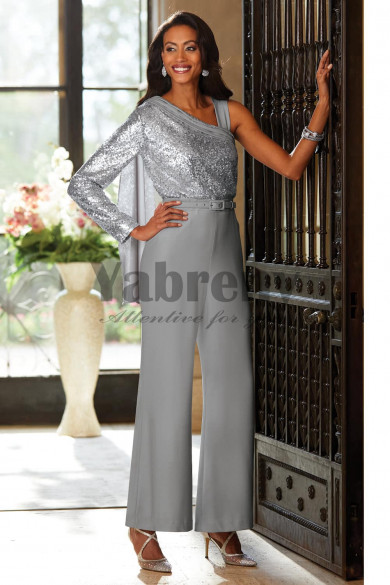 Silver Gray Sequins Fashion Mother of the bride pant suit Jumpsuit mps-087