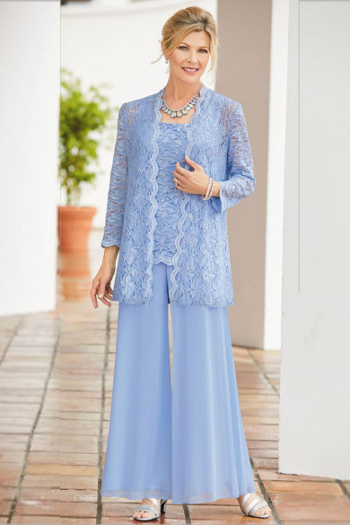 Sky Blue Mother of the bride trouser suits Loose women