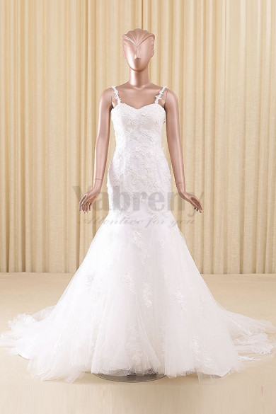 Spaghetti Sheath Sweep Train Wedding dresses wd-012