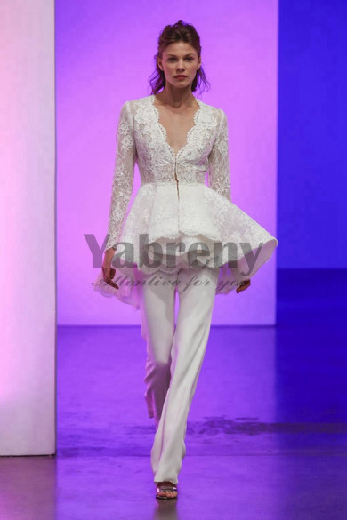Spring Lace Bridal Pantsuits V-neck Wedding Gown so-148