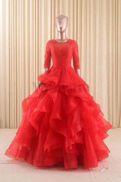 Spring Red Wedding Gown with Ruffles Half Sleeves wd-019