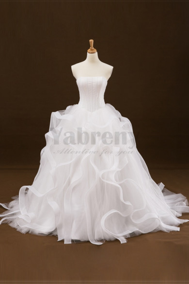 Strapless Sweep Train Wedding dress With Ruffles Sweet Bridal Gown