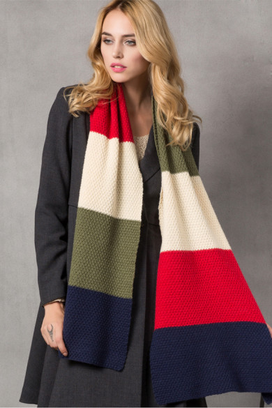 Stylish British Wind Woman Autumn Winter Plaid Scarves Dark Navy Red Deep Olive and Ivory