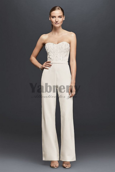 Sweetheart Bridal Jumpsuit Gown Chest with hand flowers so-149