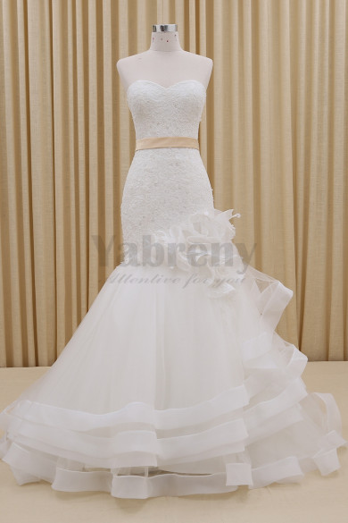 Tiered Unique Mermaid Spring Wedding dresses With Satin Belt wd-005