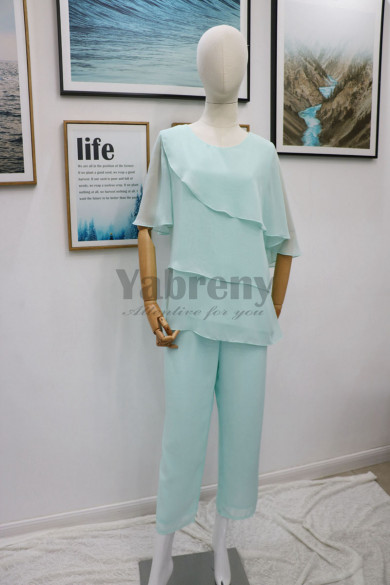 Two piece Chiffon Mother of the bride pant suits dresses outfit Summer beach wedding mps-173
