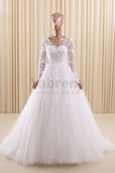V-neck A-Line Sheer Straps Wedding dresses with Long Sleeves wd-011