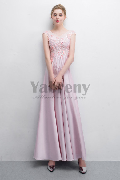 V-neck Sweet Pink Charmeuse Prom dresses Floor-Length dresses so-017