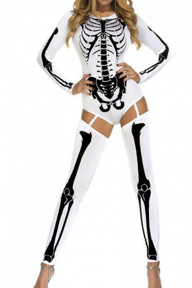 White Halloween Europe and the United States ghost festival horror skeleton cover-up party costumes free shipping