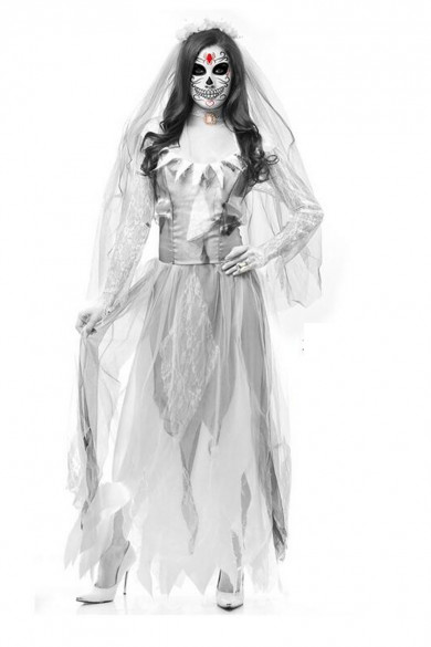 White Lace Ghostly Costume Halloween Party Adult Cosplay Ghost Bride Costumes