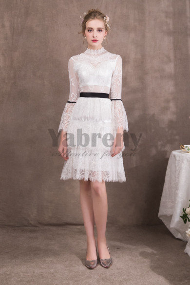 Elegant princess Knee-Length short Prom dresses with Long Sleeves so-056