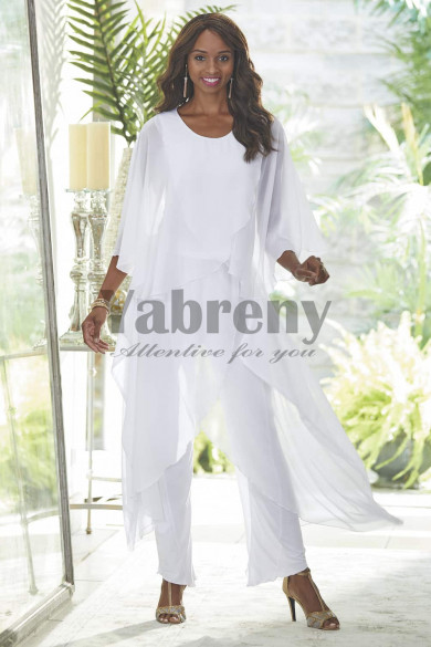 White Mother of the bride pantsuit dresses Chiffon Trousers outfits mps-082