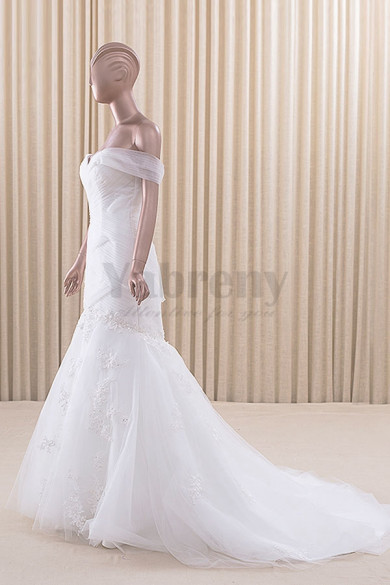 White lace Off-the-shoulder Mermaid Tailed Wedding dresses wd-021-2