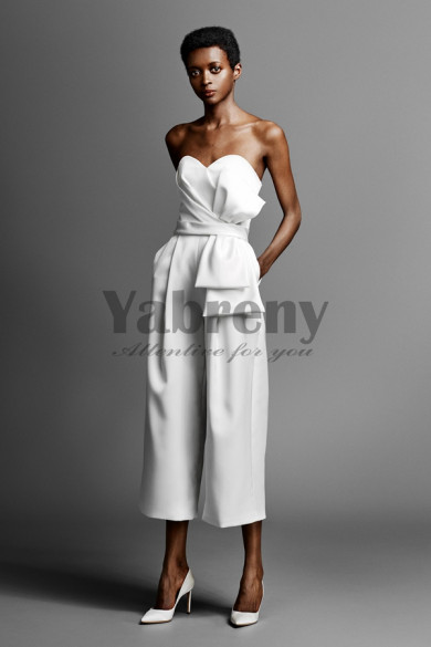 White Satin Bridal Jumpsuit Mid-Calf Wedding pants dresses so-145