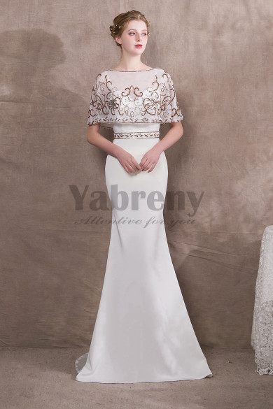 2019 Fashion White Hand beading Cape Pattern Prom dresses so-026
