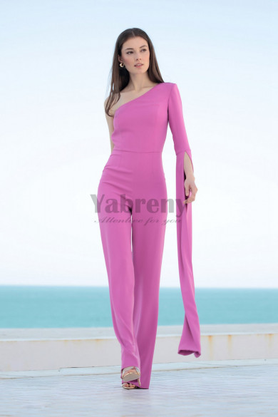 Women Rose red bridesmaid  Jupmsuit One Shoulder Cocktail pants dresses so-186
