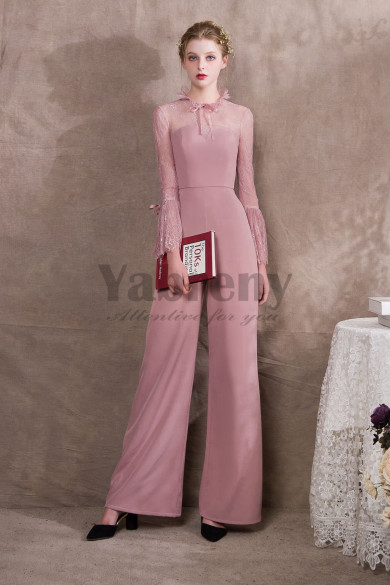 Womens Pearl Pink Chiffon Jumpsuits With lace Sleeves so-033