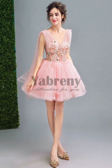 Yabreny 2020 Fashion Above Knee Homecoming dresses pink Prom Dresses TSJY-010