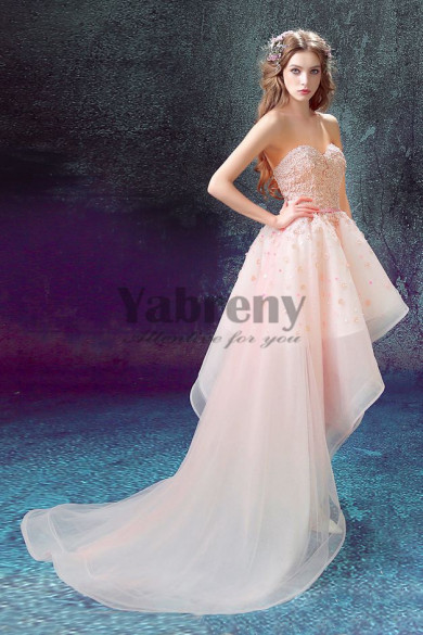 Yabreny 2019 New Style pink Homecoming dresses Asymmetry Prom Dresses TSJY-006