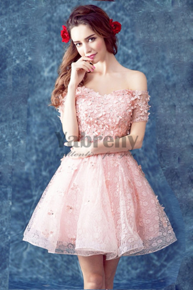 Yabreny 2021 Off the Shoulder prom dress A-line pink Homecoming Dresses cyh-037