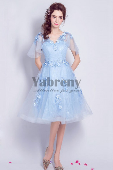 Yabreny 2021 Sky Blue Knee-Length prom dresses under $100 Homecoming Dresses cyh-042
