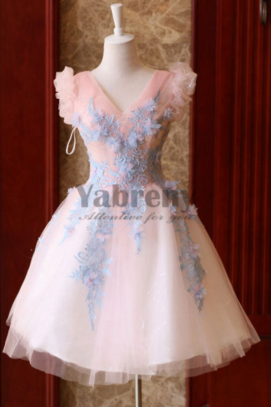 Yabreny Above Knee lovely pink Homecoming Dresses Appliques prom Dresses TSJY-031