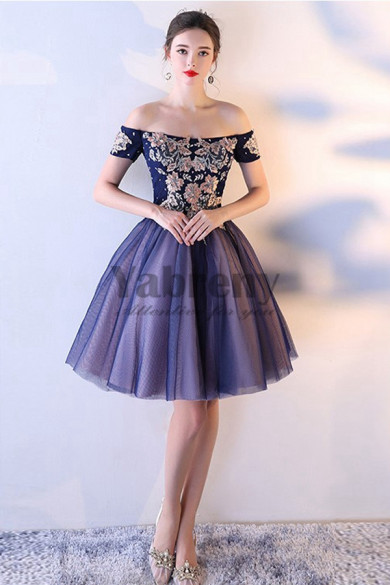 Yabreny Embroidery Off the Shoulder A-line short dress Dark Navy Homecoming Dresses cyh-038