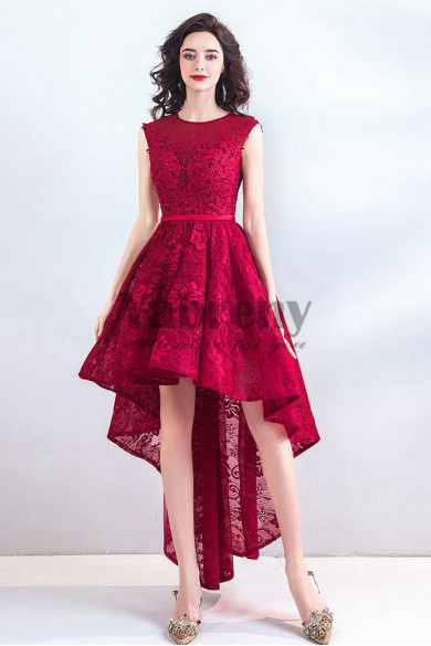 Yabreny Hot Sale Rose Red Homecoming dresses Front Short Long Back Prom Dresses TSJY-013