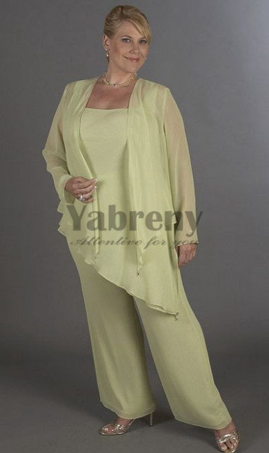 Plus Size Light green modern pants sets mother of the bride dress mps-219