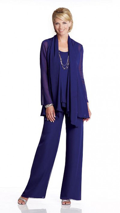 Royal Blue Chiffon Spring mother of the bride pants suits mps-186