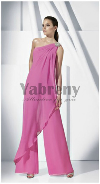 Fuchsia chiffon Glamorous lovely One Shoulder women